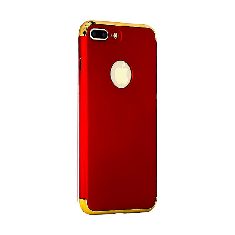 OEM in 1 Plated PC Frame Bumper with Frosted Hardcase Casing for iPhone 7 Plus - Red