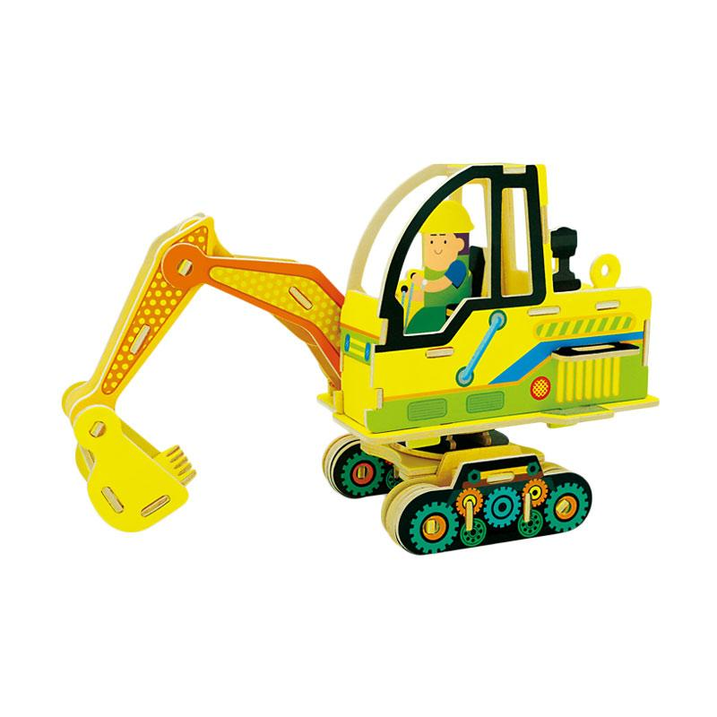 Robotime VC401 DIY 3D Color Wooden Construction Series Excavator Puzzle - Multicolor