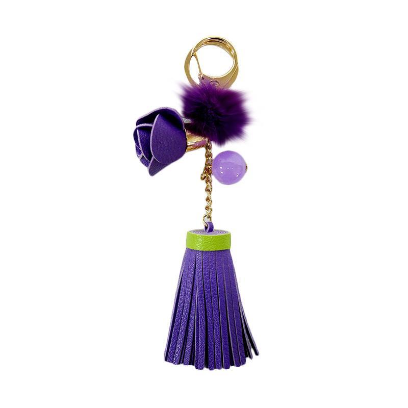 SIV Bunga 01 Leather Kulit Keychain Gantungan Kunci - Purple [KB02]