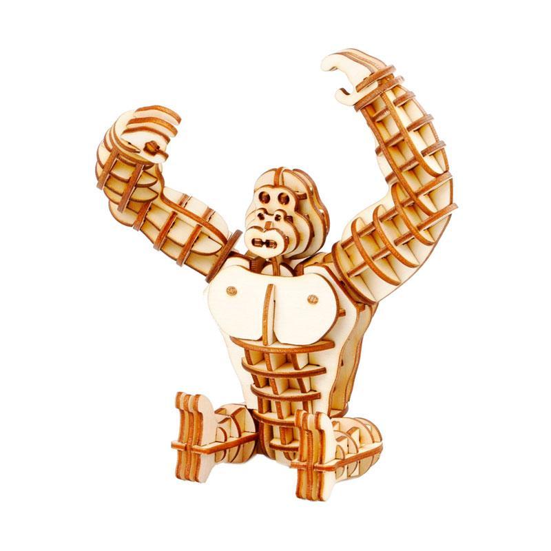 Robotime TG201 DIY 3D Laser Wooden Gorilla Mainan Puzzle - Brown