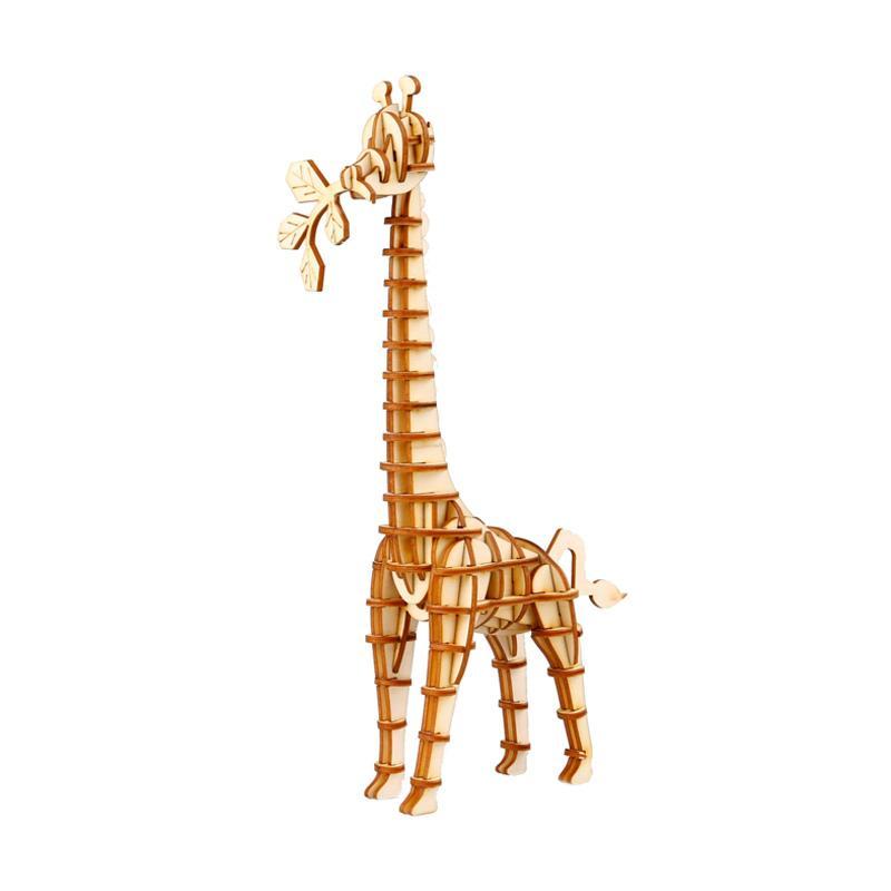 RobotimeTG206 DIY 3D Laser Wooden Giraffe Mainan Puzzle - Brown