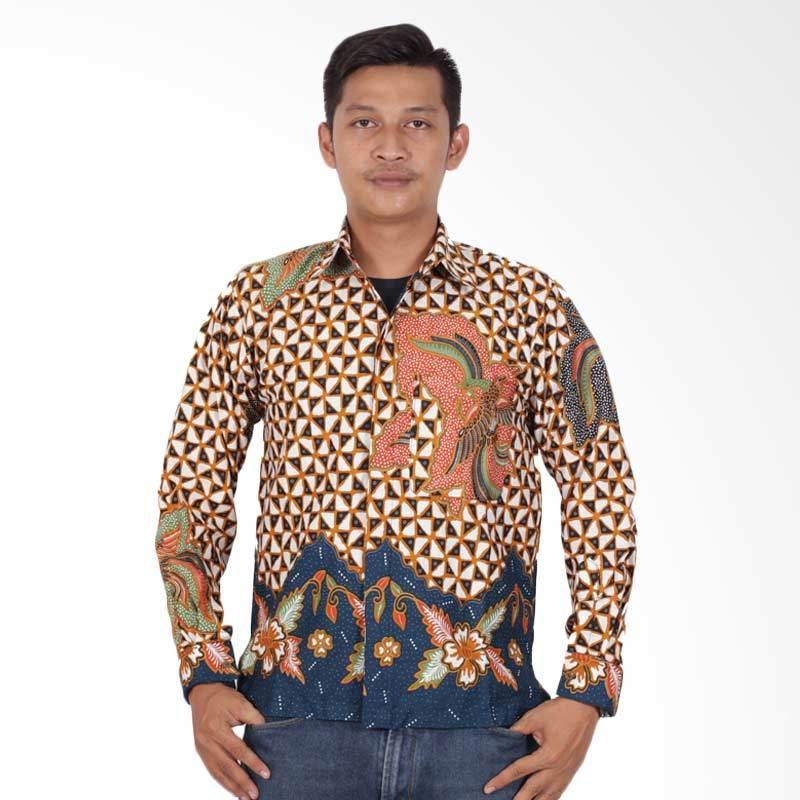 Batik Putri Ayu Solo Lengan Panjang Kemeja Batik Pria - Orange KPJ203
