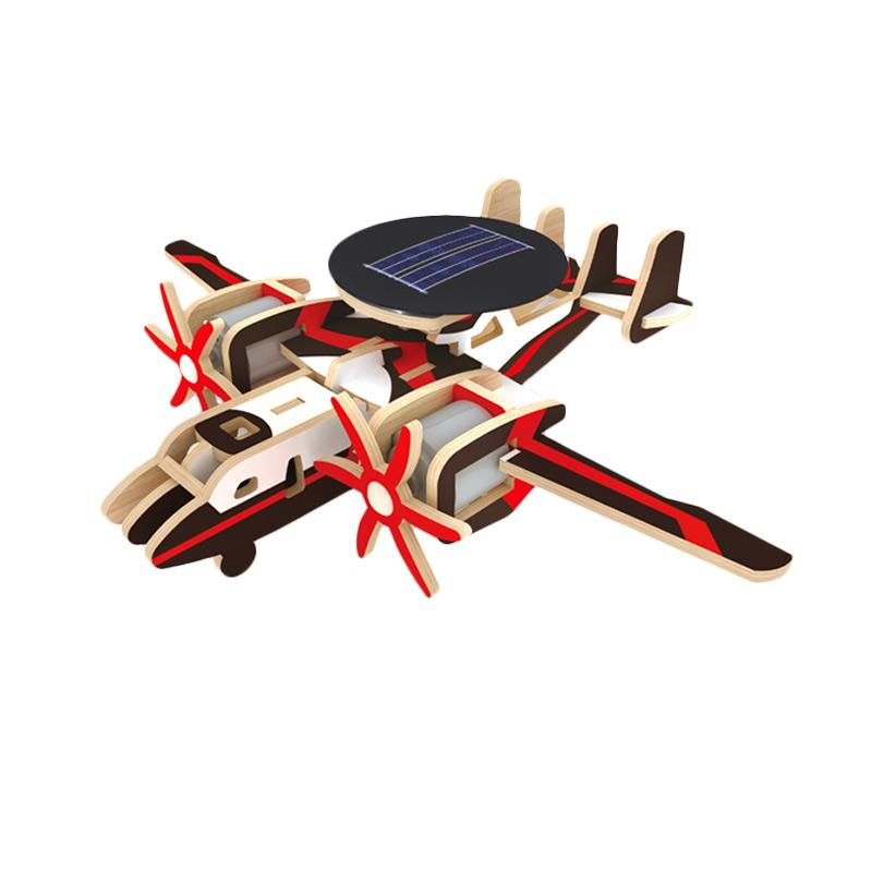 Robotime P340 DIY 3 Wooden Puzzle Solar Airplane Series The phantom of the AWACS Mainan Puzzle 3D - Multicolor