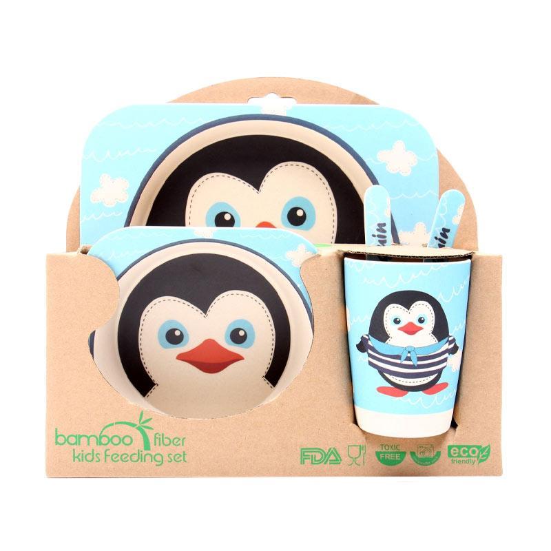 HAN AYC Bamboo Fiber Kids Set Dinnerware Peralatan Makan Anak Dari Serat Bambu Penguin - Multicolor