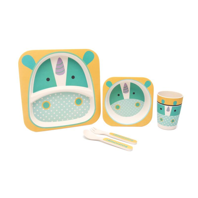 HAN AYC Bamboo Fiber Kids Set Dinnerware Peralatan Makan Anak Dari Serat Bambu Rhinoceros - Multicolor