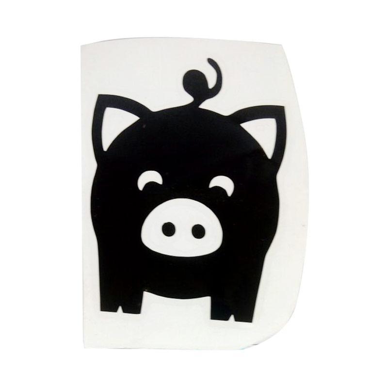 OEM Motif Pig Cute Mini Dekorasi Tombol Lampu Saklar Wall Sticker - Hitam
