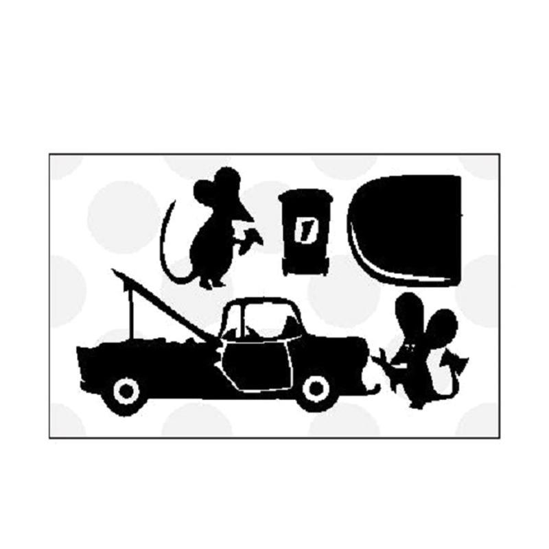 OEM Tikus Bengkel Mobil Wall Stiker Closet Cut / Hiasan Dinding / Laptop