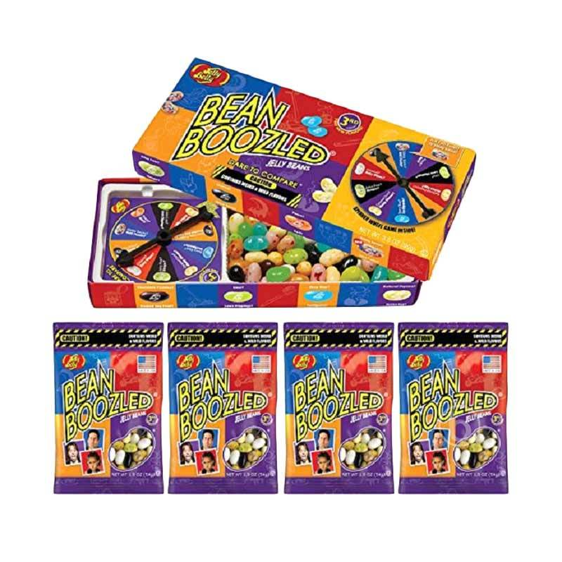 Jelly Belly 3rd Edition Gift Box Bean Boozled Spinner Wheel Game with Jelly Bean Party Pack Refill [3.5 Oz dan 1.9 Oz/4 pcs]