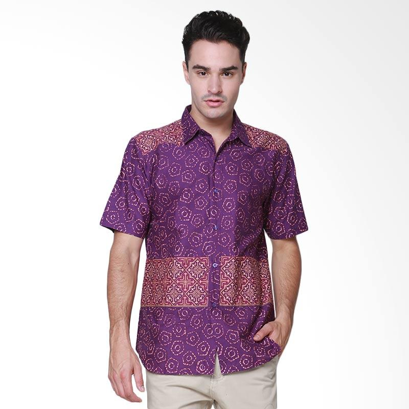 Days by Danarhadi Men Jumput Segi Top Hem Batik Pria - Purple
