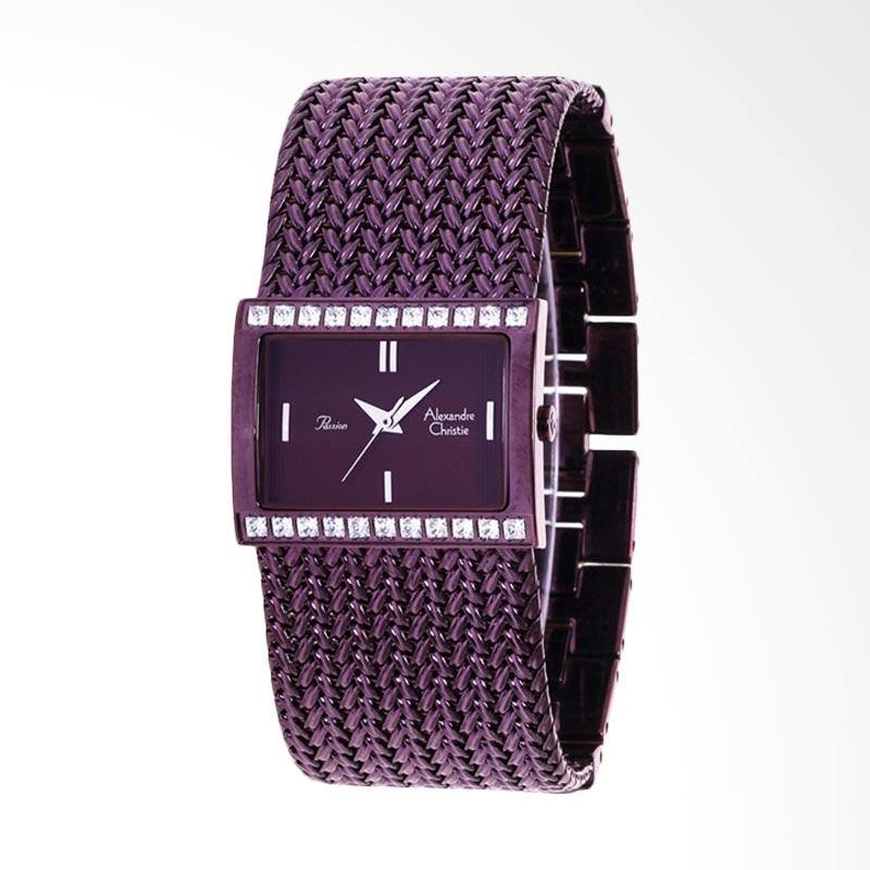 Alexandre Christie ACF-2466-LHBBNBO Ladies Passion Dark Brown Dial Bronze Stainless Steel Jam Tangan Wanita - Purple