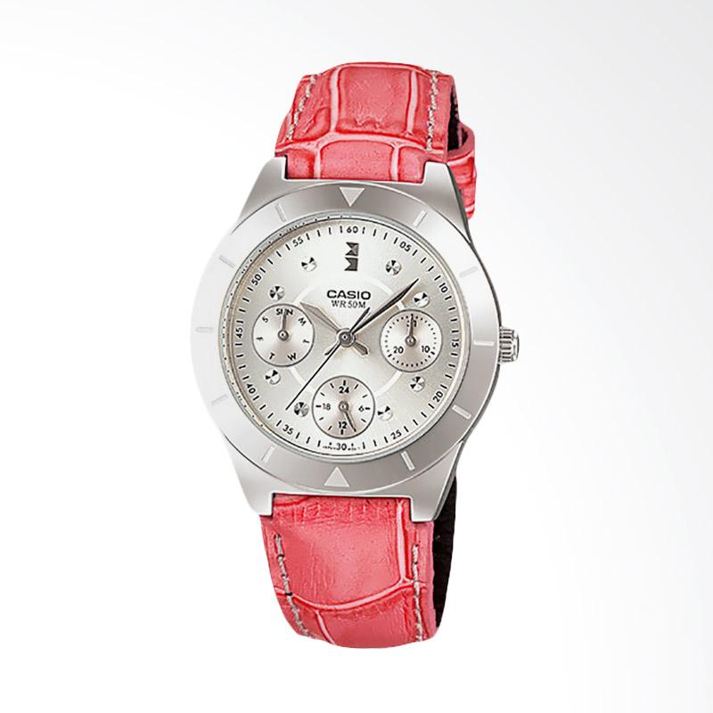 Casio LTP-2083L-4AVDF Enticer Ladies  Ion Plated Pink Leather Strap Jam Tangan Wanita Silver Dial