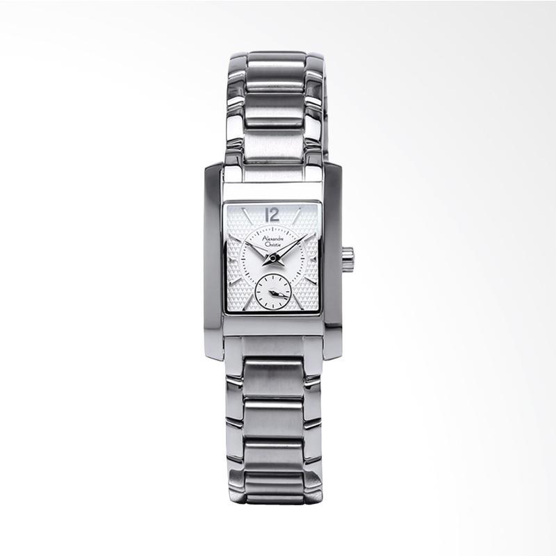 Alexandre Christie ACF-8533-LSBSSSL Ladies Pattern Dial Stainless Steel Jam Tangan Wanita - Silver