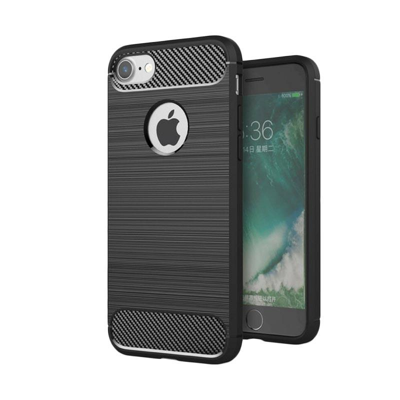 Ipaky Carbon Fiber Matte Softcase Casing for iPhone 7 Plus - Hitam