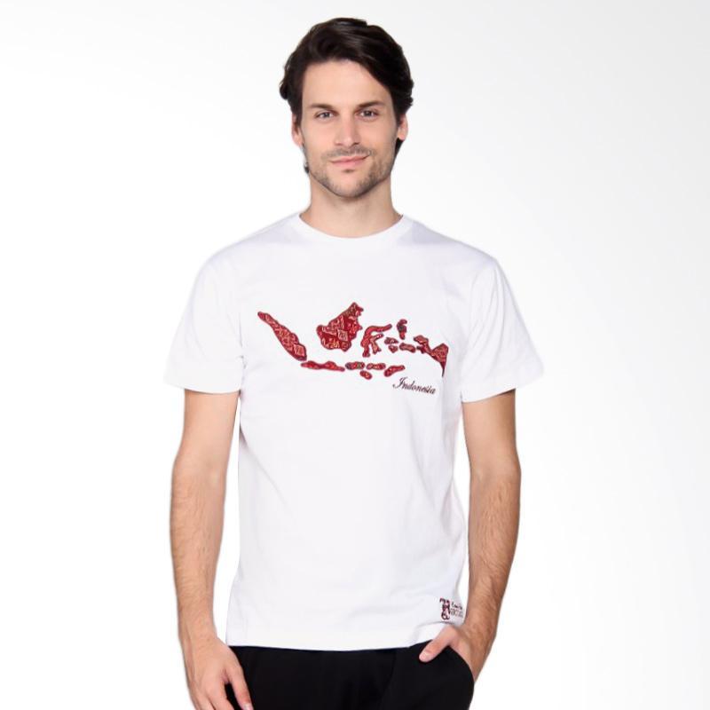 Batik Heritage Indonesia T-Shirt Pria - White