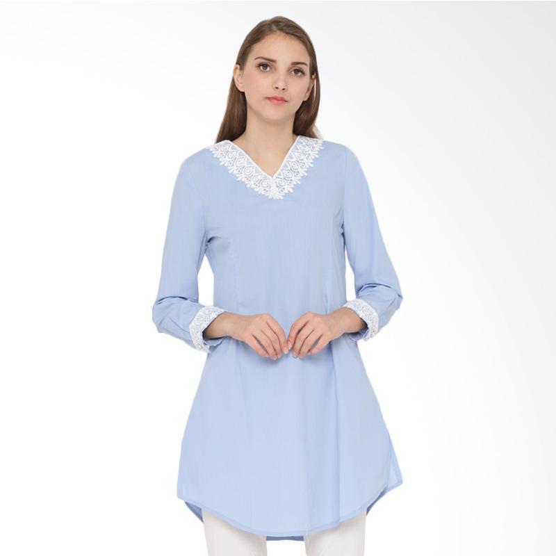 A&D Fashion Ms 843 Ladies Long Sleeve Blouse - Blue
