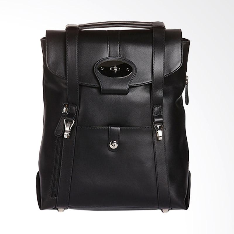 Amore Daniel Leather Beck Mutifunction Backpack - Black [14 Inch]
