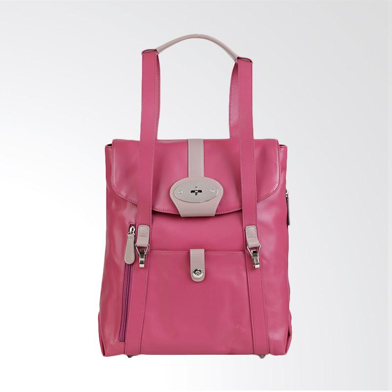 Amore Daniel Leather Beck Mutifunction Backpack - Fuchsia [14 Inch]