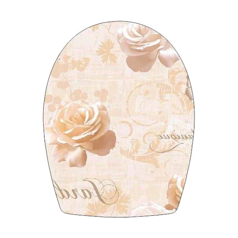 Epinidithouse Shabby Mawar Toilet Cover Sticker - Coklat