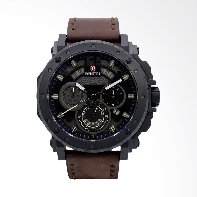 Expedition Man Black Dial Brown Leather Strap Jam Tangan Pria - Brown EXF-6402-MCLIPBAIVBO