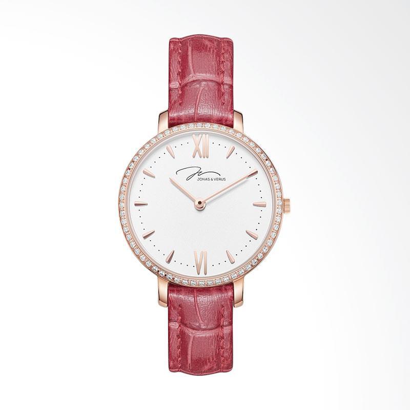 Jonas Verus X00752-Q3.PPWLRD Quartz Watch Minimalist Leather Strap Jam Tangan Wanita - Red