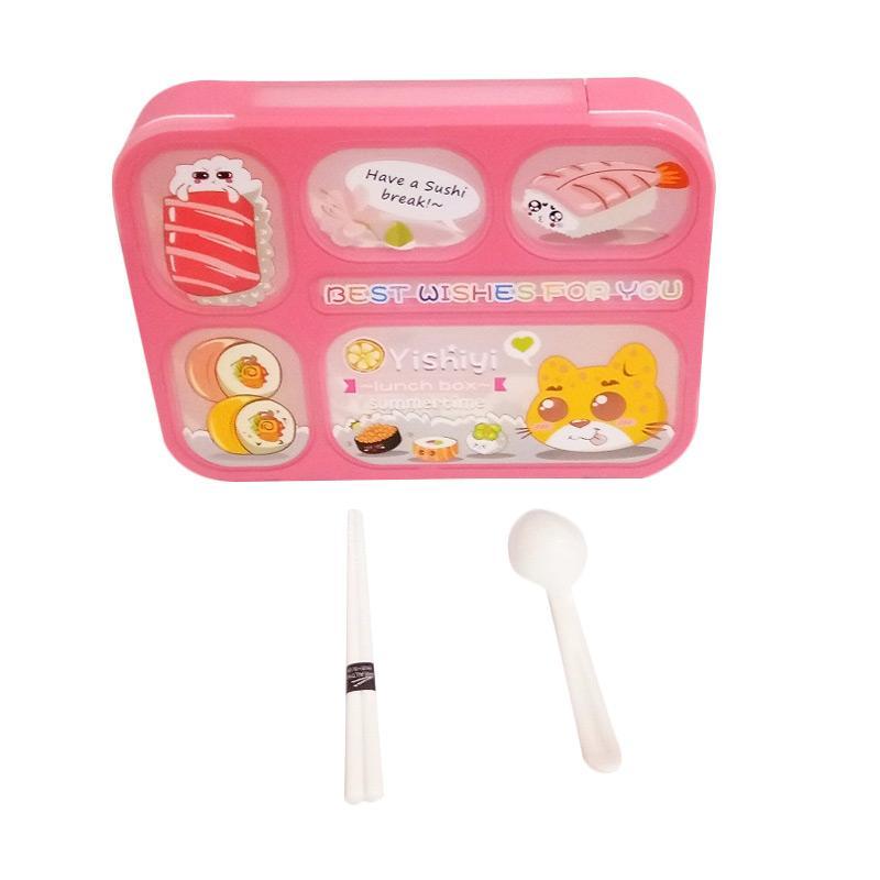 GCC Bento Sekat 5 Karakter Kotak Makan - Pink Peach