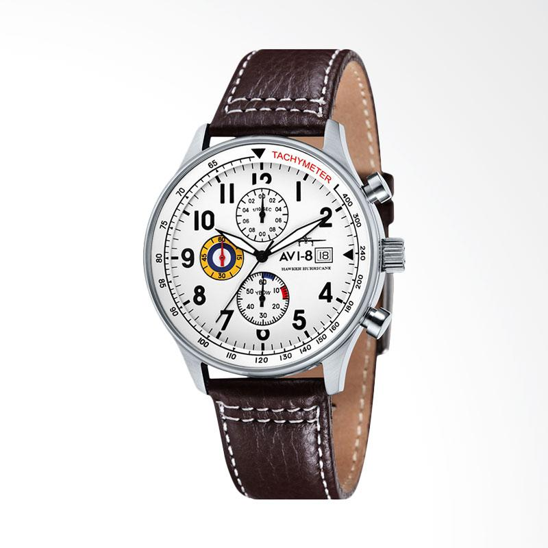 AVI 8 AV-4011-01 Man Hawker Hurricane Watch Leather Strap Jam Tangan Wanita - Brown White