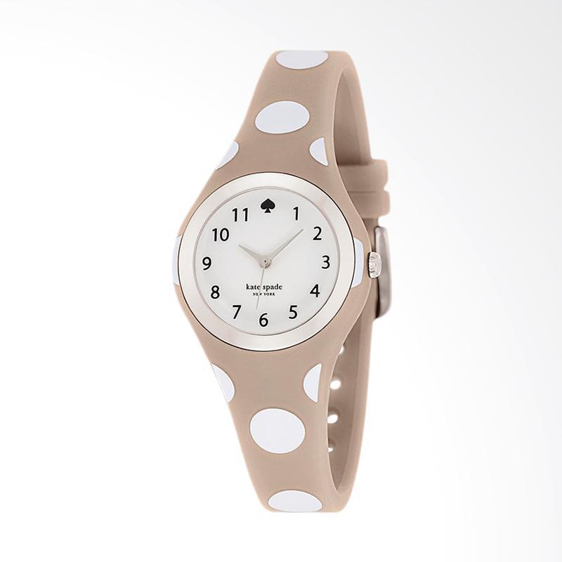 Kate Spade 1YRU0836 Rumsey White Dial Beige Silicone Strap Watch Jam Tangan Wanita - Beige