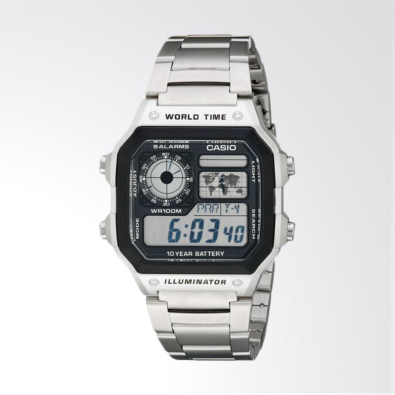 Casio Men's Stainless Steel Digital Watch Jam Tangan Pria - Silver AE1200WHD-1A
