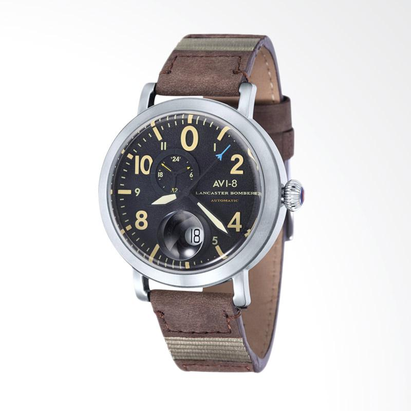 AVI 8 Lancaster Bomber Watch Black Dial Leather Strap Jam Tangan Pria - Brown AV-4038-01