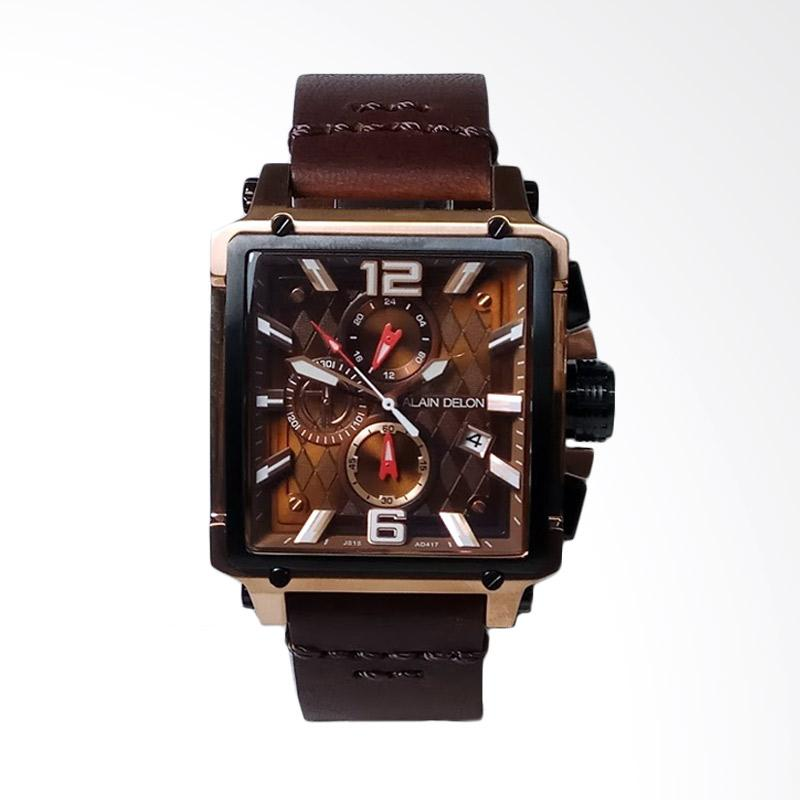 Alain Delon Chronograph Stainless Steel Leather Brown Jam Tangan Pria - Black Rosegold AD417-1545C