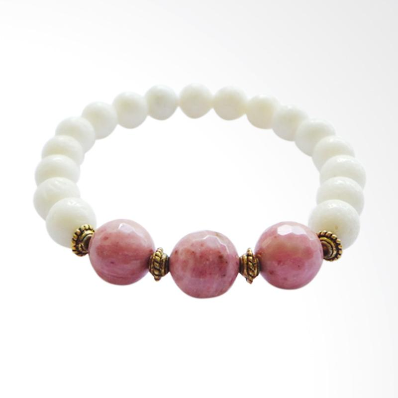 Advaya Jewel Batu Rhodonite Gelang Wanita - White Coral