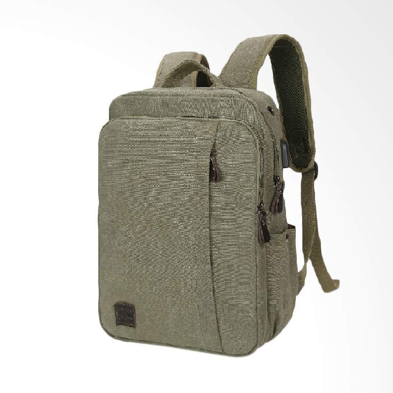harga Martinversa Mooring Tas Ransel Pria Laptop / Macbook USB Extender Kanvas Impor - Army Green [TR12] Blibli.com