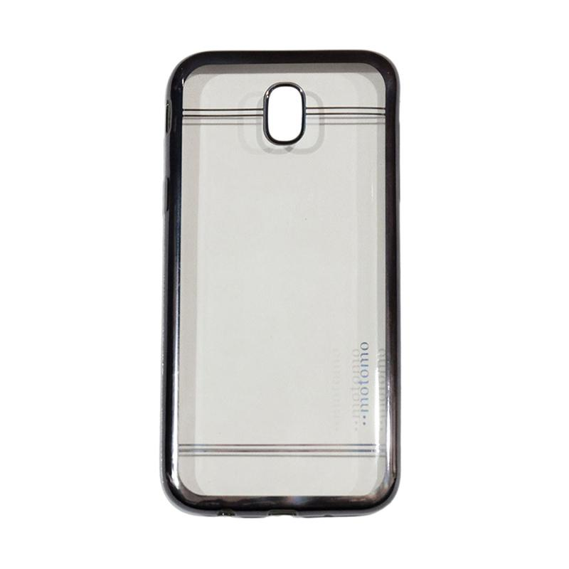 Motomo Luxury Shining Chrome Ultrathin Silicone Softcase Casing for Samsung Galaxy J7 Pro 2017 or J730 - Hitam