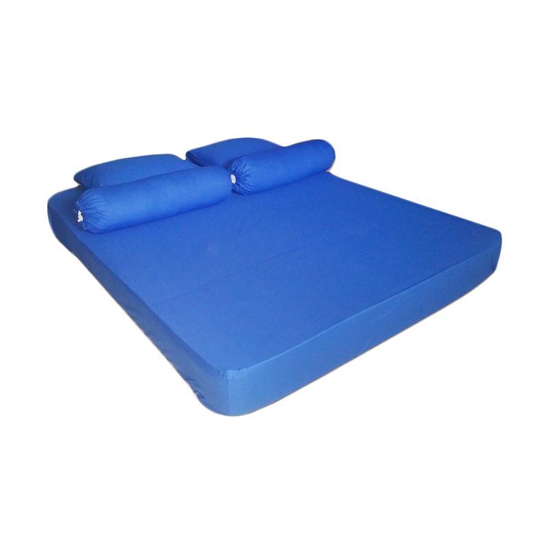Tren-D-home Polos Katun Polyester Set Sprei - Blue [180 x 200 x 30 cm]