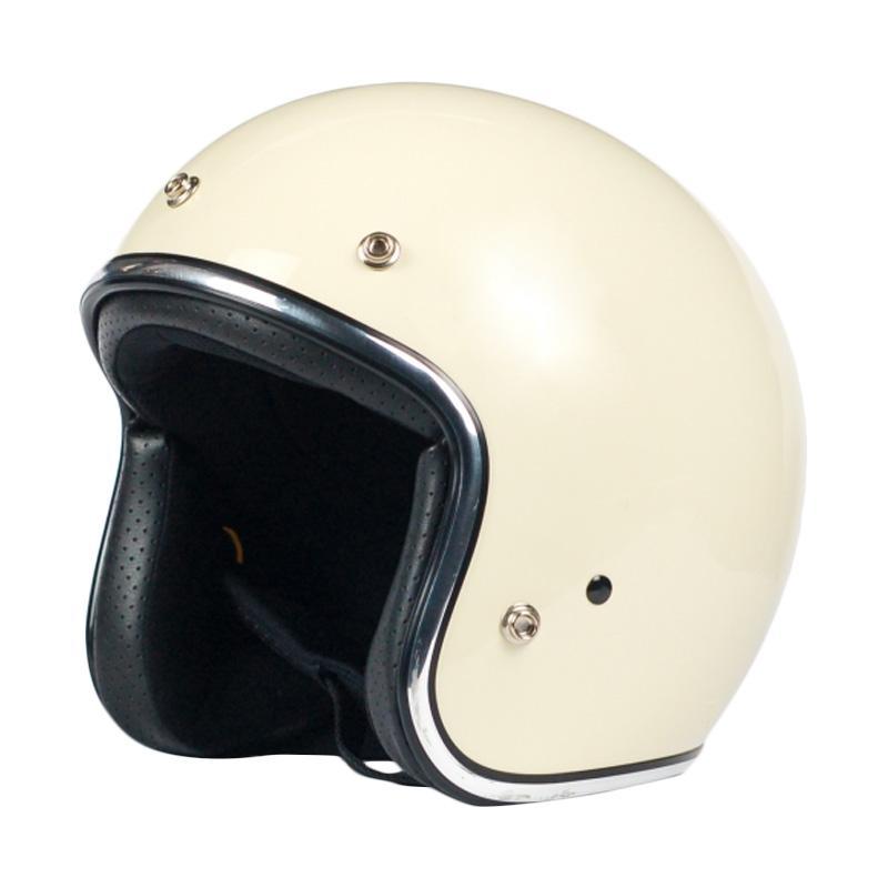 AGYO Helmet SS Black Padding Helm Half Face - Antique White Gloss