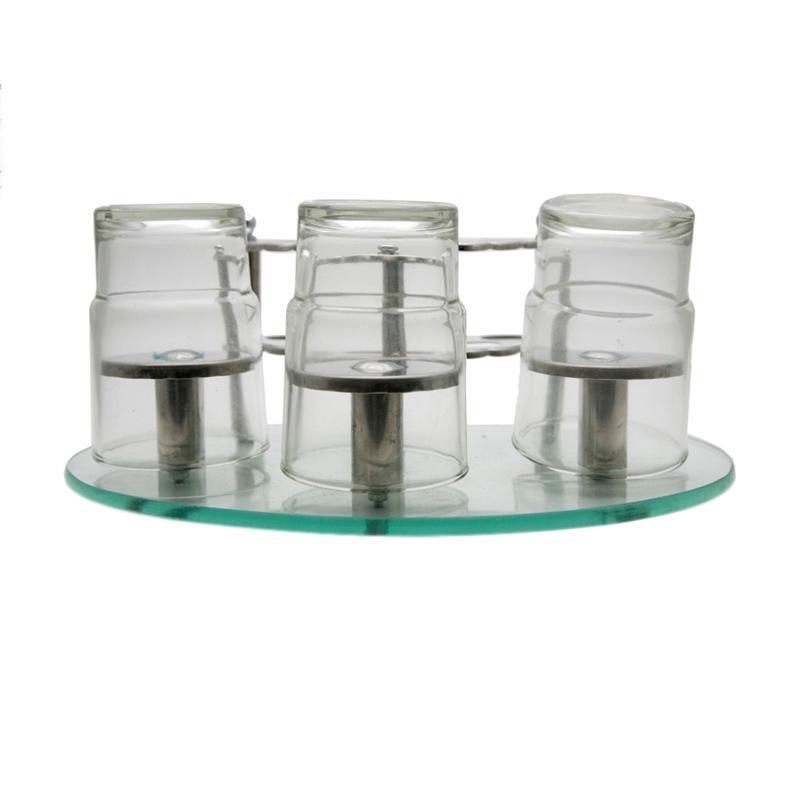 HAN 6006 Rak Sikat Gigi dengan 3 Gelas Kaca - Perak