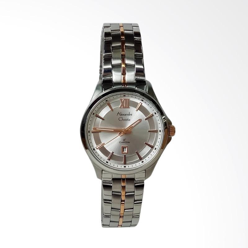 Alexandre Christie AC8530LD Classic Stainless Steel Jam Tangan Wanita - Silver Rosegold