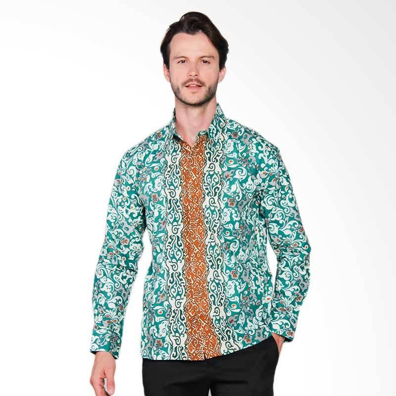 AWANA Modern Slim Fit Borneo Kemeja Batik Pria - Green
