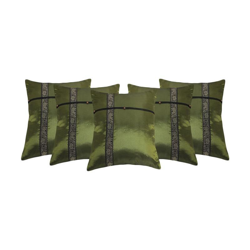 Tren-D-Home PTS-09 Satin Sarung Bantal Sofa - Hijau  [45 cm x 45 cm/5pcs]