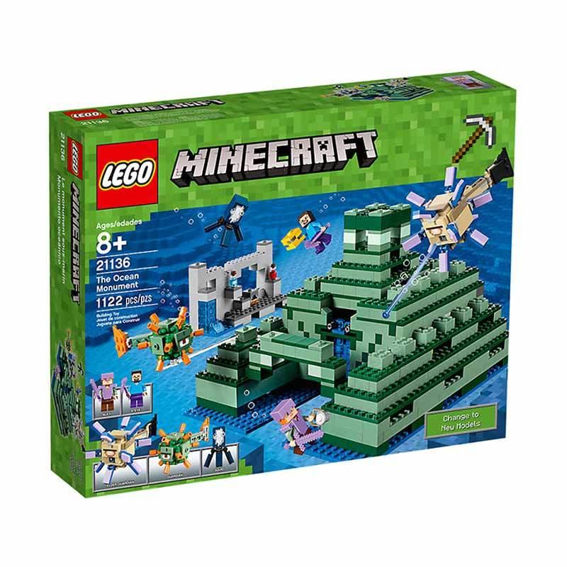 LEGO Minecraft 21136 The Ocean Monument Mainan Blok