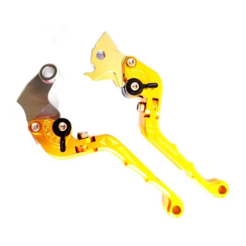 Raja Motor Model Bikers Stel Double Lipat CNC Handle Motor for Yamaha Byson or R15 - Orange [HDL3152-Orange]