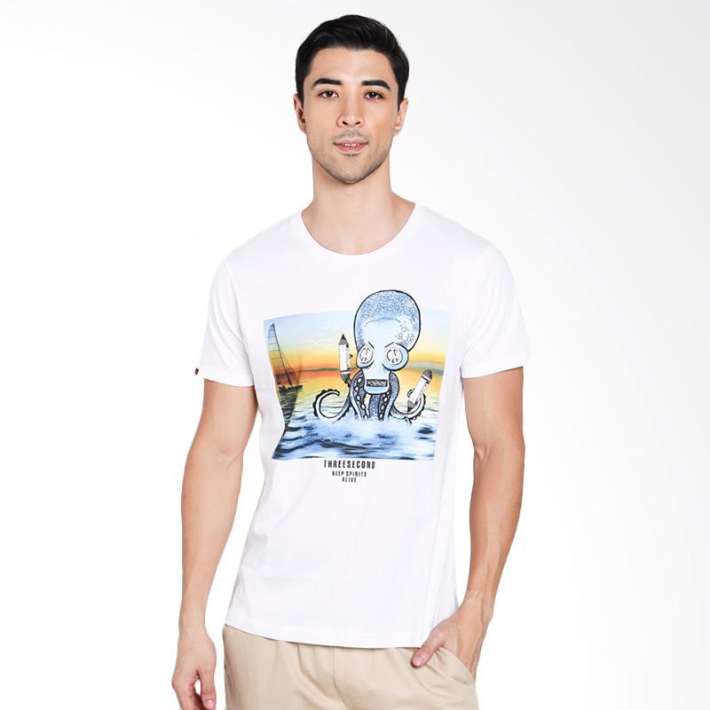 3SECOND Men 0301 T-Shirt Pria - White