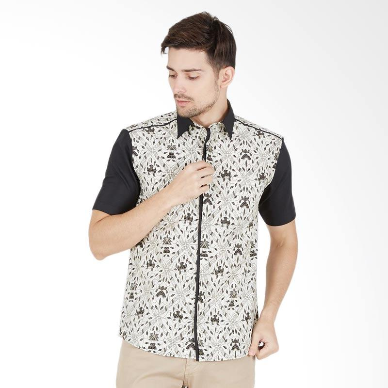 Enzy Batik Men Shirt Sidoluhur Kemeja Batik Pria - White