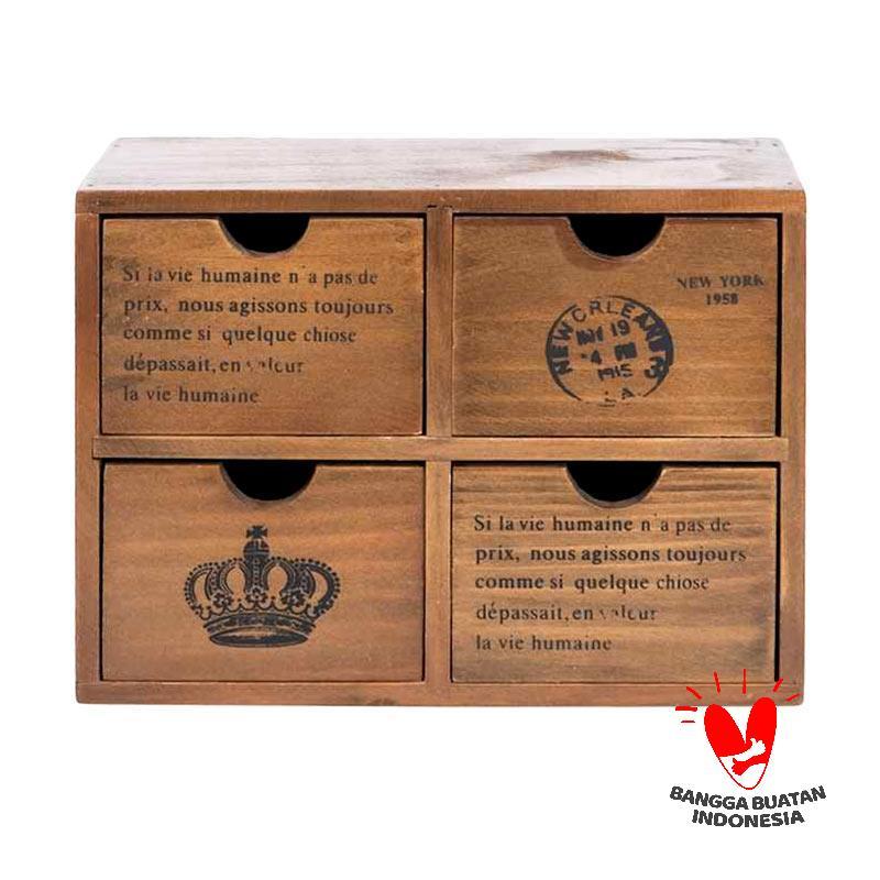 Mendekor Seminung Multifungsi Kayu Kotak Penyimpanan Brown
