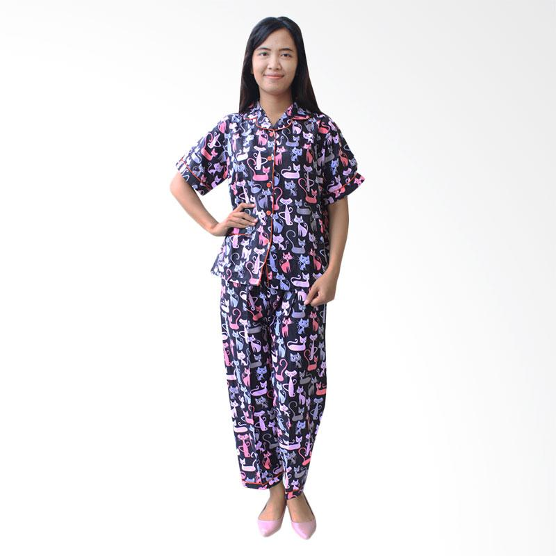 Aily ALY003 Setelan Baju Tidur Wanita - Hitam