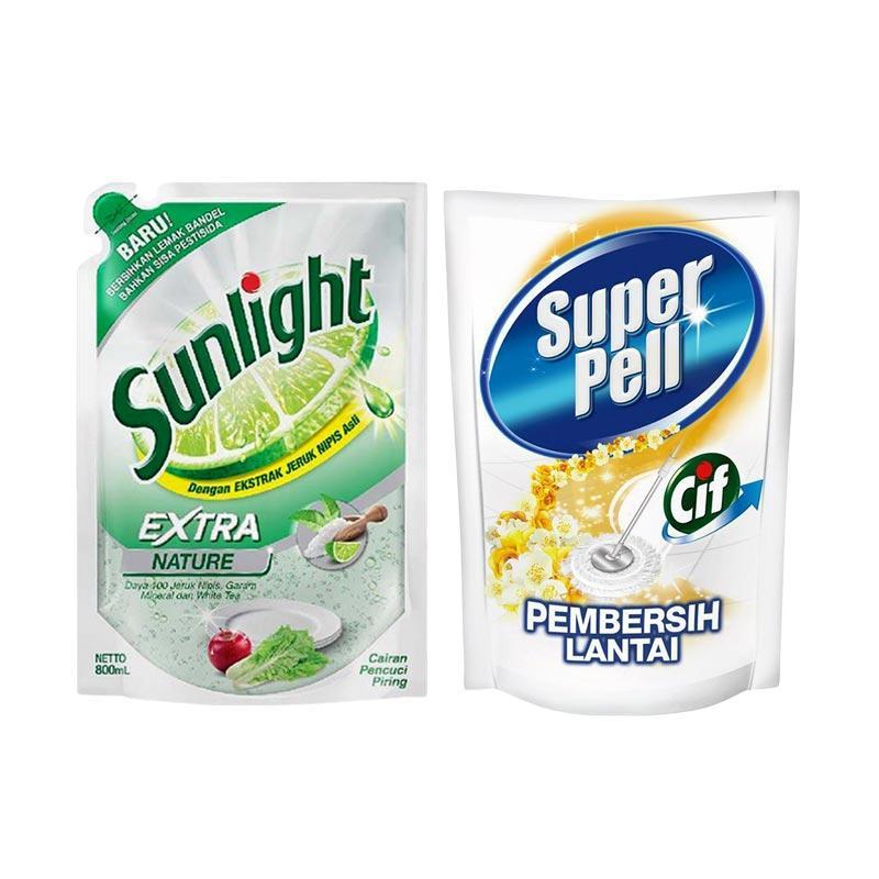 SUNLIGHT Extra Nature Refill [800 mL] dan Super Pell Gold Refill [800 mL]