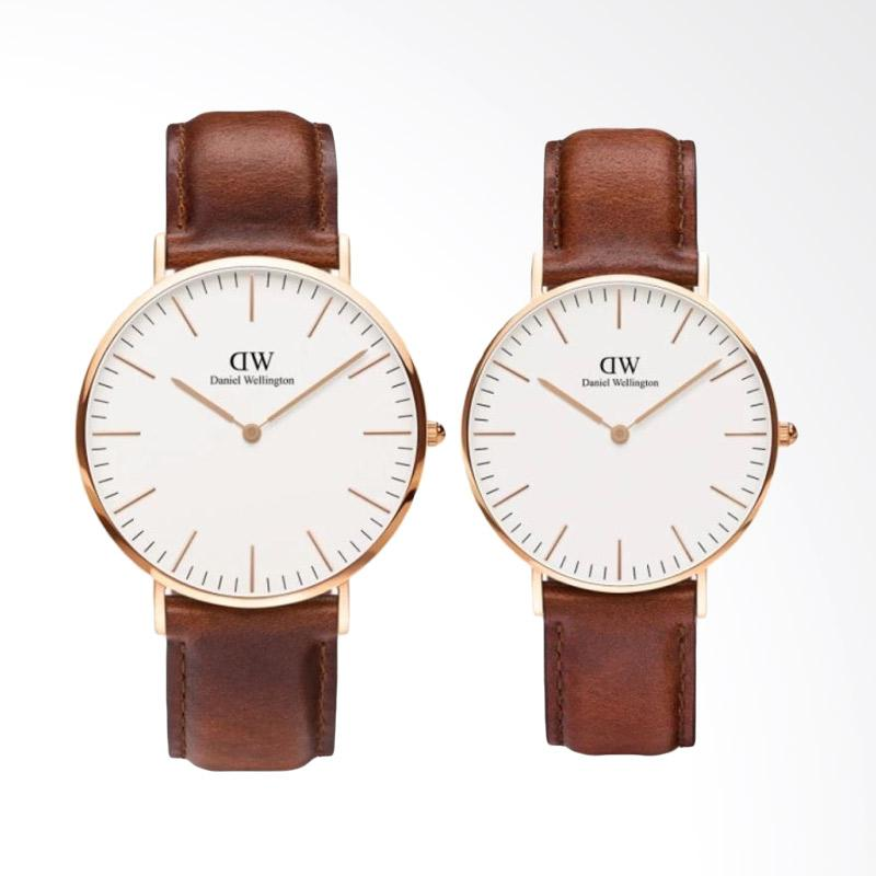 Daniel Wellington Couple Set Classic 40mm & 36mm St Mawes Jam Tangan Couple - Cokelat Muda Rose Gold