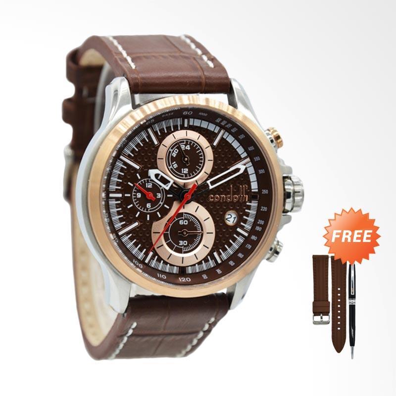 Harga Promo Condotti Creazione Chronograph Interchangeable Strap Jam Tangan Pria Brown CN3044 S05 .