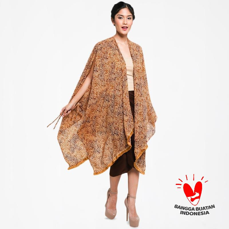 Gesyal Cardigan Tunik Kimono Sifon Motif Batik Bohemian Outer Atasan Wanita Coklat