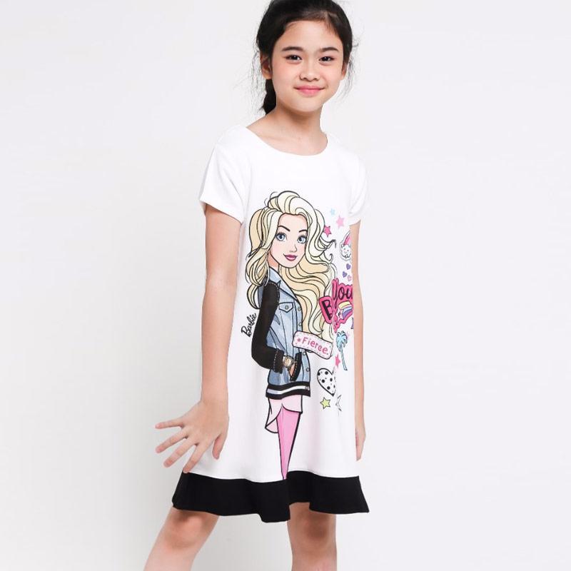 Barbie BDK 18021 H BW Dress Anak Perempuan - White